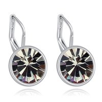 Wholesale Vintage Design Element - Black Earrings For Women Austrian Crystal Made With SWA Elements Brand Earrings Simple Design Fashion Vintage Jewelry 3 Colors