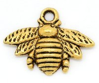 Wholesale Gold Bee Necklace - Charm Pendants Bee Gold Tone and antique silver 21x16mm,50PCs (B28811) fit for bracelet necklace fashion
