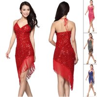 Wholesale Black Latin Dance Skirts - 2015 Latin Dance Dress Women Red Rose Black Blue Sex Cha Cha Rumba Samba Tango Dance Skirt Tassel Sequin Vestido De Baile Latino DQ3077