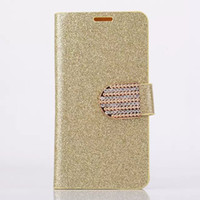 Wholesale Rhinestone Phone Cover Galaxy S3 - Wholesale-S3 Bright Glitter Card Holder Side Flip stand PU Leather Case For Samsung Galaxy S3 i9300 Phone Rhinestone Cover