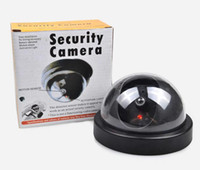 Wholesale Wholesale Dummy Security Cameras - Dummy Indoor Security CCTV Camera Fake Dummy Dome Surveillance CAM flashing for Home Office Camera LED