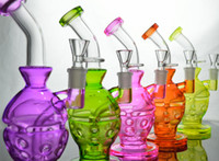 "vidrio fijo al por mayor-9 ""pulgadas Faberge Egg Showerhead Perc Recycler Fab Egg Oil Rigs Heady Colours Waterpipe Glass Bong Egg Fixed Downstem FabEgg Glass Pipe"