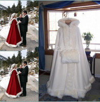 weißes kapuzenpanzerkap großhandel-New Romantic Echt Bild mit Kapuze Braut Cape Elfenbein-weiße lange Hochzeits-Umhänge-Pelz-für Winter-Hochzeit Brautverpackungen Brautumhang Plus Size