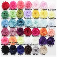 "Wholesale shabby chic flower bow wholesale - 100pcs lot,2.5"" chic shabby frayed chiffon flowers,chiffon Rosette flowers for Baby Girl headbands hair accessories"