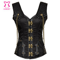 Wholesale Plus Size Gothic Clothing - Vintage Black Satin and Leather Punk Gothic Clothing Plus Size Corset 6XL Steampunk Corsets and Bustiers Sexy Tank Vest Korset