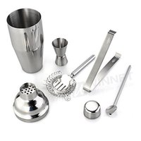Wholesale Stainless Steel Cocktail Shaker Set - Wholesale-Set 5 Stainless Steel Cocktail 750ml Shaker Jigger Mixer Ice Strainer Clip Spoon