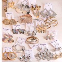 Wholesale Wholesale Celebrity Style Earrings - Fashion girl woman lady Mix 10 styles 10 pairs gold silver big celebrity hyperbole Bohemia long earrings