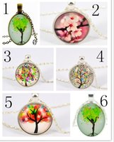 Wholesale Flowering Trees Photos - Flower tree Pendant necklace life tree photo Glass Cabochons necklace silver chain Necklace fashion jewelry women necklace 6 Designs JY
