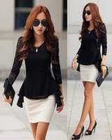 Wholesale Retro Xl - Excellent ! 2014 Woman Clothes Fashion Long Sleeve Retro Chiffon Lace Splicing Shirt Blouse L-XL b7 CB034134