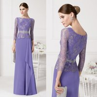 Wholesale Bridal Gown Purple Sash - Long Sleeves Lace Mother Of The Bride Dresses With Sash Purple Wedding Formal Dress Mothers For Bridal Aire Barcelon Long Evening Prom Gown