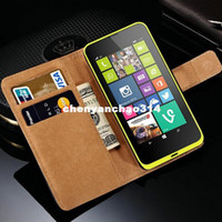 Wholesale Wallet Wholesalers Site - Genuine Leather Wallet Cover Case For Nokia Lumia 630 Phone Back Shell with Stand Flip Book Style with Card Holder and Bill Site