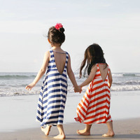 Wholesale Dress Tutu Red Stripe - Baby girl stripe gallus dress 2015 new Fashion Lovely Girl's Sleeveless dress baby clothes 2 color B001