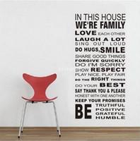 vinyl-gehäuse aufkleber großhandel-DF5206 Dekoration Vinylwand-Kunst-Abziehbild-Quote Aufkleber in diesem Haus Wir sind Familie Hallo-Qualität garantiert mischbare Schwarz