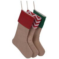 Wholesale Medium Size Gift Bags - New Canvas Christmas stocking gift bags canvas Christmas Xmas stocking Large Size Plain Burlap decorative socks bag 12*18inch high quality