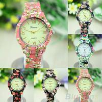 ginebra relojes florales al por mayor-Al por mayor-Nation Wind Women's Geneva Floral Print Estilo de cerámica Relojes analógico Reloj de pulsera de cuarzo Nuevo Diseño 5DJF