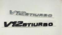 Wholesale Mercedes Benz Body - high quality ABS Plastic Black Silver V12 BITURBO Number Letters Trunk Emblem Badge Sticker for Mercedes Benz