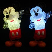 Wholesale Micky Mouse Plastic - Micky Mouse Shape Plastic Crystal LED Night Light Energy Saving Creative Shiny Toy 8014