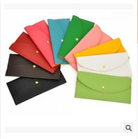 Wholesale White Coin Envelopes - 2015 Fashion Candy Color Lady Wallets PU Leather Credit Card Tote Envelope Clutch Bags For Women Wallet Purse Coin bag Pouch