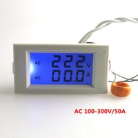 bobin sayacı toptan satış-Dijital AC Voltmetre Ampermetre 100-300 V 50A Gerilim Akım Amper Panel Metre Mavi LCD Arka CT Bobin Beyaz Damla Nakliye