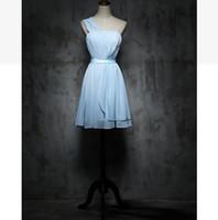 bir omuz tatlı şifon elbise toptan satış-Bir omuz Kısa Gelinlik Modelleri lace up Pembe Şampanya elbisesi İlkbahar Yaz Şifon düğün parti elbise Tatlı Bellek Promosyon