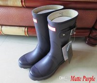 Wholesale Pvc Wellington Boots - Women Short 2017 Hunter Rain Boot Women Wellies Rain boots Ms. Glossy Wellington Rain Boots Wellington Knee Boots Fast Delivery
