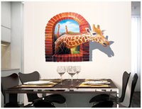 Wholesale Giant Giraffe - Decorative Removable 3D Giraffe Wall Stickers Window Creative Giant Giraffe Wall Art Murals Decor Home Decoration Wallpaper Stickers