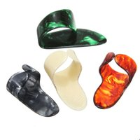 Wholesale Celluloid Finger Picks - Fashion Hot 3 pcs lot Plastic 1 Thumb And 3 Finger Nail Guitar Picks Plectrums Set Accessories