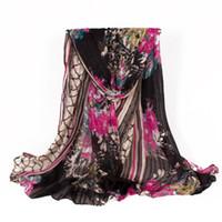 Wholesale Stylish Pashmina - Fashion Women Polyester Scarves Black Flower Print Scarf Pashmina Shawls Warps Best Quality for Stylish Lady and Girl