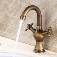 Wholesale Undercounter Mount Sink - Brass Antique Undercounter Basin Vanity Sink Faucet Deck Mounted Dual Handles Bathroom Mixer Taps 072222