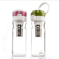 Wholesale Fun Tea Infuser - 600ML BPA Free Plastic Water Bottle Sports Bottle With Tea Infuser Drinkware For Outdoor Fun Water Filter Bottle Free Shipping