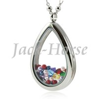 Wholesale Tear Crystal Water Drop Necklace - New arrival high quality stainless steel water drop living glass locket! tear drop pendant locket women