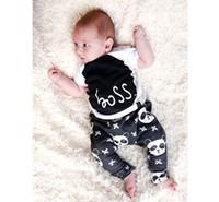 Wholesale Baby Clothes Panda - Boy fashion INS panda Suits 2016 new children Short sleeve T-shirt+ trousers 2 pcs plus sign Suit baby clothes B001