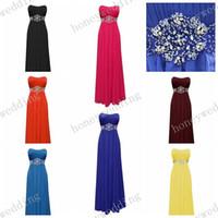 royal schärpe farben großhandel-Brautjungfer Kleider Günstige 14 Farben Perlen Sash Chiffon Brautjungfern Kleider Royal Blue Coral Lila Hochzeit Fromal Kleider