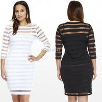 Wholesale Sexy Girls Mini Clothes - Women Plus Size Sexy Bodycon Three Quarter Sleeve Dresses Fashion Slim Striped Short Mini Dress Hot Sale Girls' Clothing
