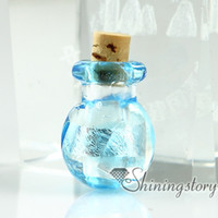 Wholesale Empty Glass Necklace Vials - glass vial for pendant necklace miniature hand blown glass bottle charms jewellery empty vial necklace wholesale glass vials with cork