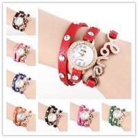 Wholesale Mm Love Pu - Love Wrap Women Watches Lady Leather Wrist Watches Round Dial PU Band Charming Bracelets Watches Mix Colors Drop Free Shipping