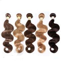 ombre blondes reines haar großhandel-Brasilianische Reine Haarkörperwelle Haarwebart Bundles Unverarbeitete Reine Brasilianische Körperwelle Menschenhaarverlängerungen Rot Braun Blond