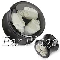Wholesale 22mm Ear Plugs - Wholesale black acrylic three skulls saddle ear plug double flare ear expander mix 10mm-22mm 42pcs lot DSP157