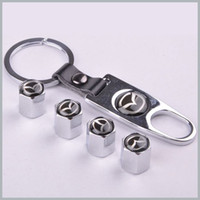 Wholesale Chrome Rims Tires - 1 set x Silver New Style Chrome Metal Car Tire Wheel Rims Stem Valve CAPS with KeyChain Key Chain For Car 1 set = 4pcs order<$18no track