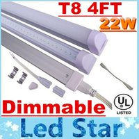 Wholesale Dimmable Led T8 - Dimmable 22W 4FT Integrated T8 Led Tubes Lights 96Leds 2835 SMD 90LM W AC 110-240V + CE ROHS UL