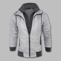 Wholesale Double Layer Fleece - Fall-New Fashion Brand Men's Clothing,Double Layer Zipper-Up Men's Hoodies Jackets Male,Sports Casual Men's Fleece Hoodies