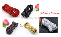 Wholesale Wholesale Leather Cord Colors - 2015 JLB Newest 50m lot 5mm 5 colors choice Wholesale lots Fashion Braiding PU Leather Jewelry Cords String DIY Materials Accessories