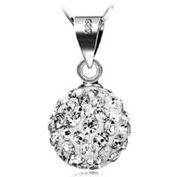 Wholesale Sterling Silver Disco Ball Necklace - Women Pendant 925 sterling silver shamballa disco ball Casual Silver Chain necklaces Jewelry Crystal Pendant Sterling Silver Jewelry D1123