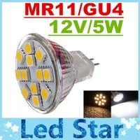 Wholesale Led Mr11 5w - CE ROHS UL + MR11 GU4 Led Spotlights 12 Leds 5050 SMD 5W Led Bulbs Lights 12V High Bright 350Lumens Warm Cold White Energy Saving