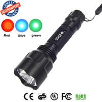 Wholesale Torch Light C8 - C8 CREE LED Flashlight Blue + Red + Green Night Vision Light Torch led torch flashlight torch light