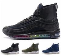 Wholesale Warm High Boots - Top quality cheap brand men's winter air 97 high cut running shoes 2018 air cushion high top sport shoes air sole warm sneaker boots