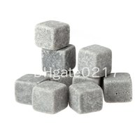 9pcs / set Atacado Whisky Stones, caixa delicada + saco de veludo whisky rock stone + Soapstone Beverage Chillers, Vodka, Wine Stones