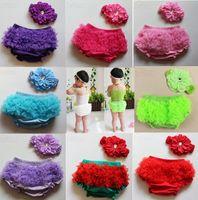 Wholesale satin diaper covers - 2015 New Baby Girls Pettiskirt Ruffle Panties Briefs Bloomer Diaper Satin Lace Cotton Diaper Covers 1 set=1 headband +1 bloomer diaper
