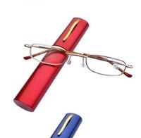 óculos de leitura emoldurados preto venda por atacado-2016 MINI Design Óculos de Leitura Das Mulheres Dos Homens Dobrável Pequeno Óculos de Armação de Metal Preto Óculos Com Caneta Caixa Gafas