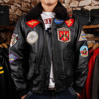 Wholesale Air Force Leather Bomber Jacket - Men's Leather Jacket US Air Force Pilot's Shorts bomber coats thick genuine leather cowhide urban baron